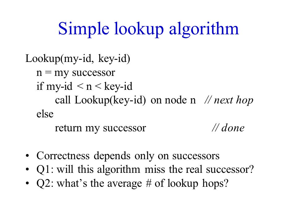 Simple lookup algorithm
