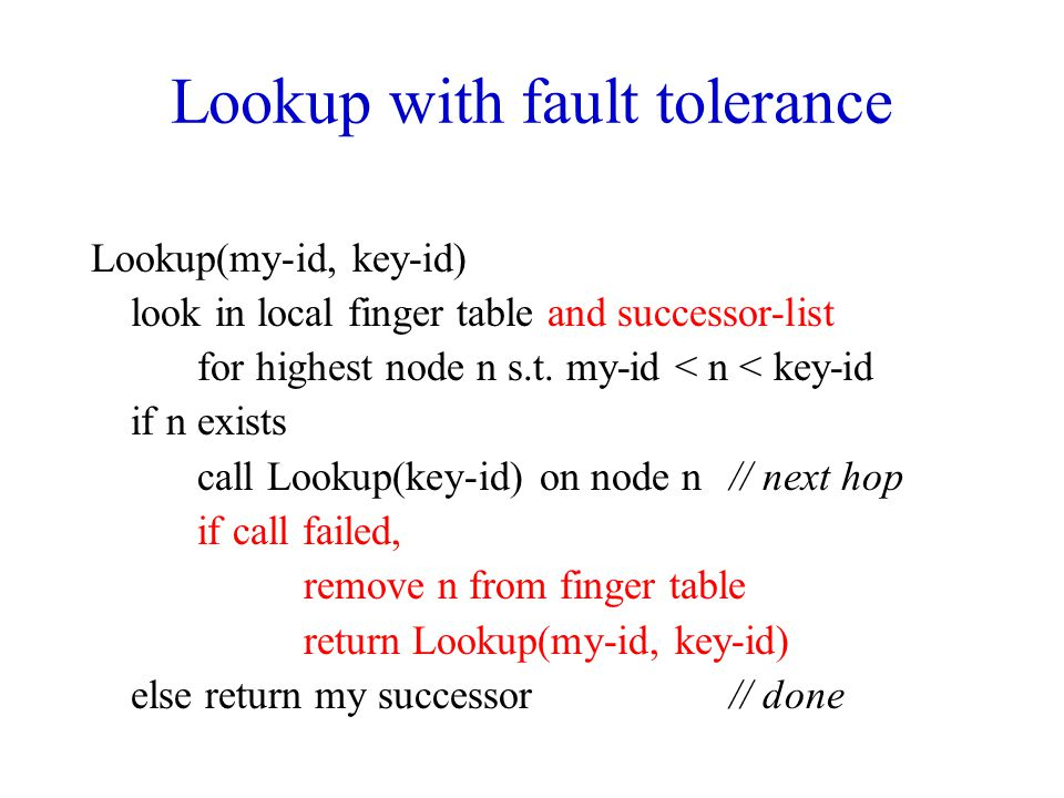 Lookup with fault tolerance