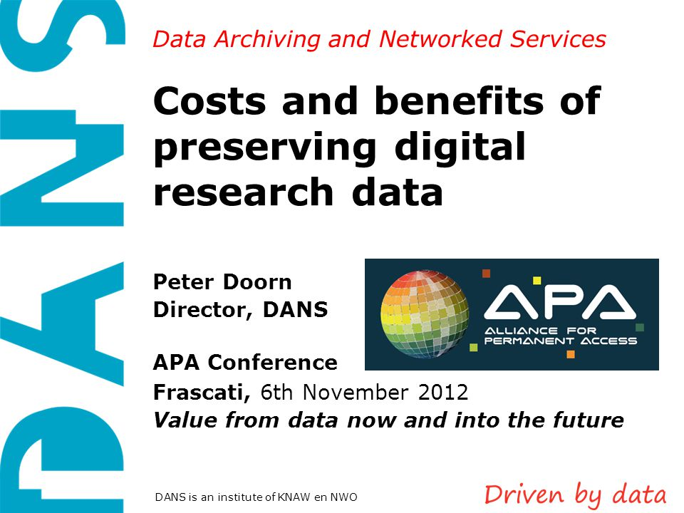 Costs and benefits of preserving digital research data