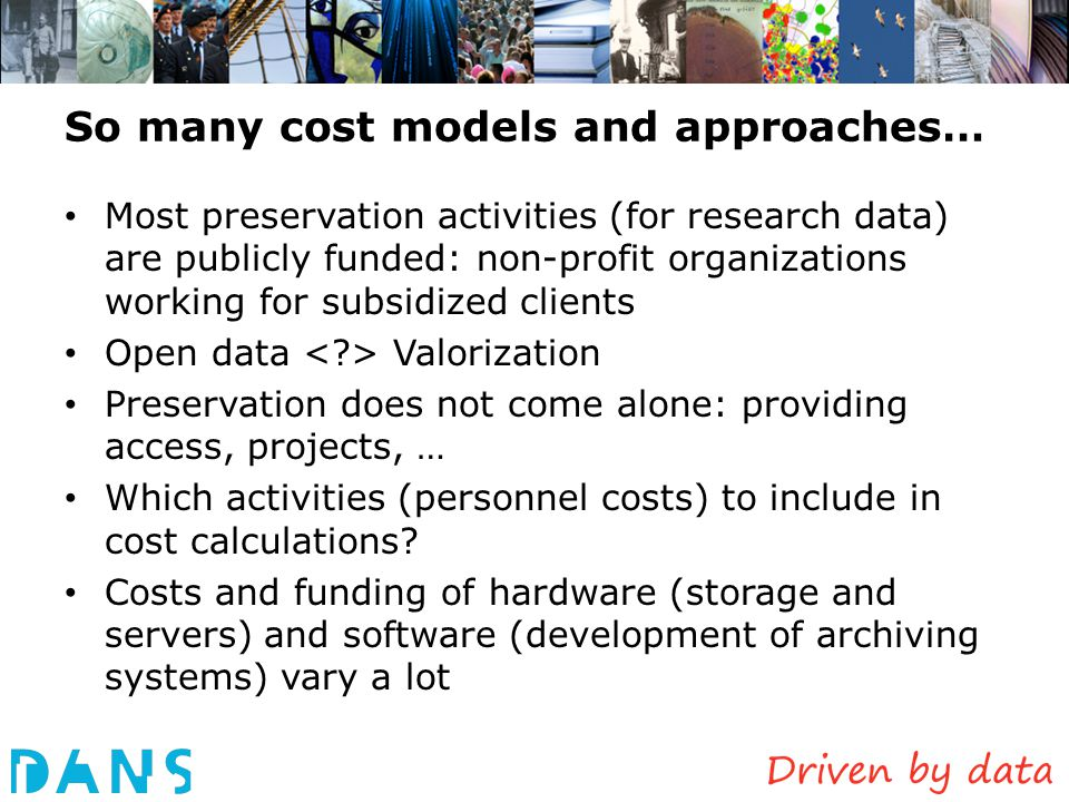 So many cost models and approaches…