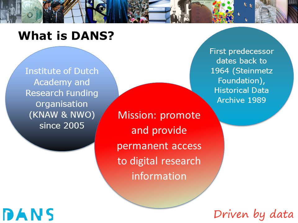 What is DANS First predecessor dates back to 1964 (Steinmetz Foundation), Historical Data Archive 1989.