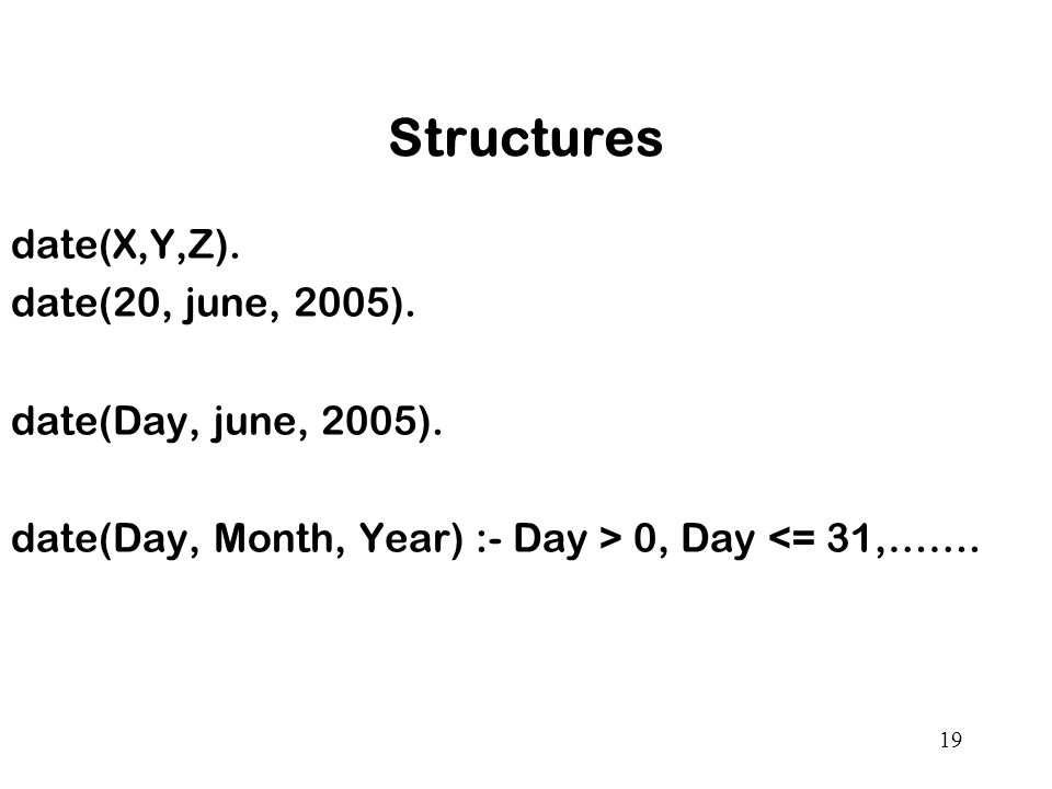 Structures date(X,Y,Z). date(20, june, 2005). date(Day, june, 2005).
