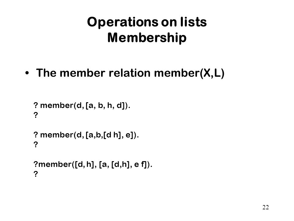 Operations on lists Membership
