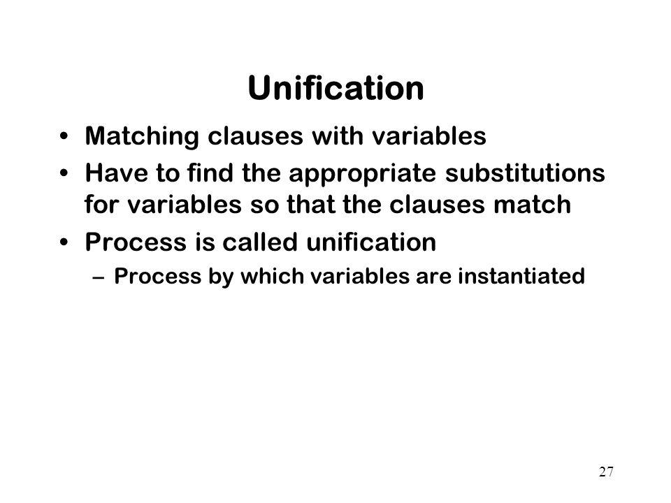 Unification Matching clauses with variables
