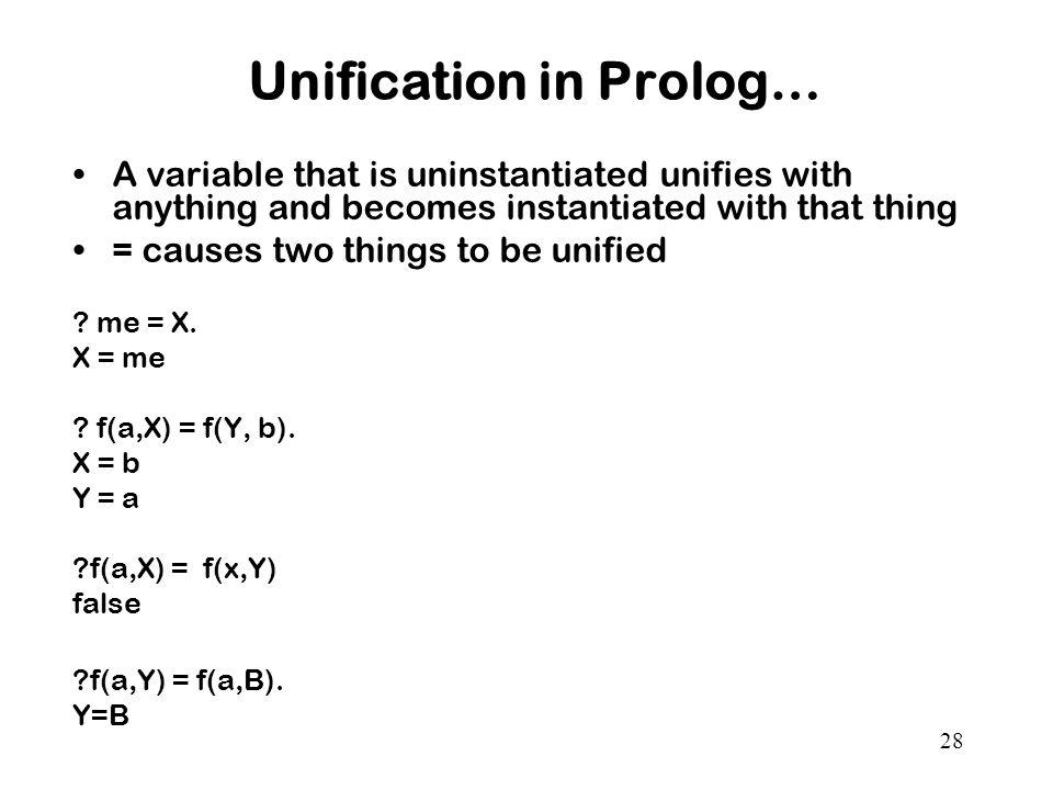 Unification in Prolog…