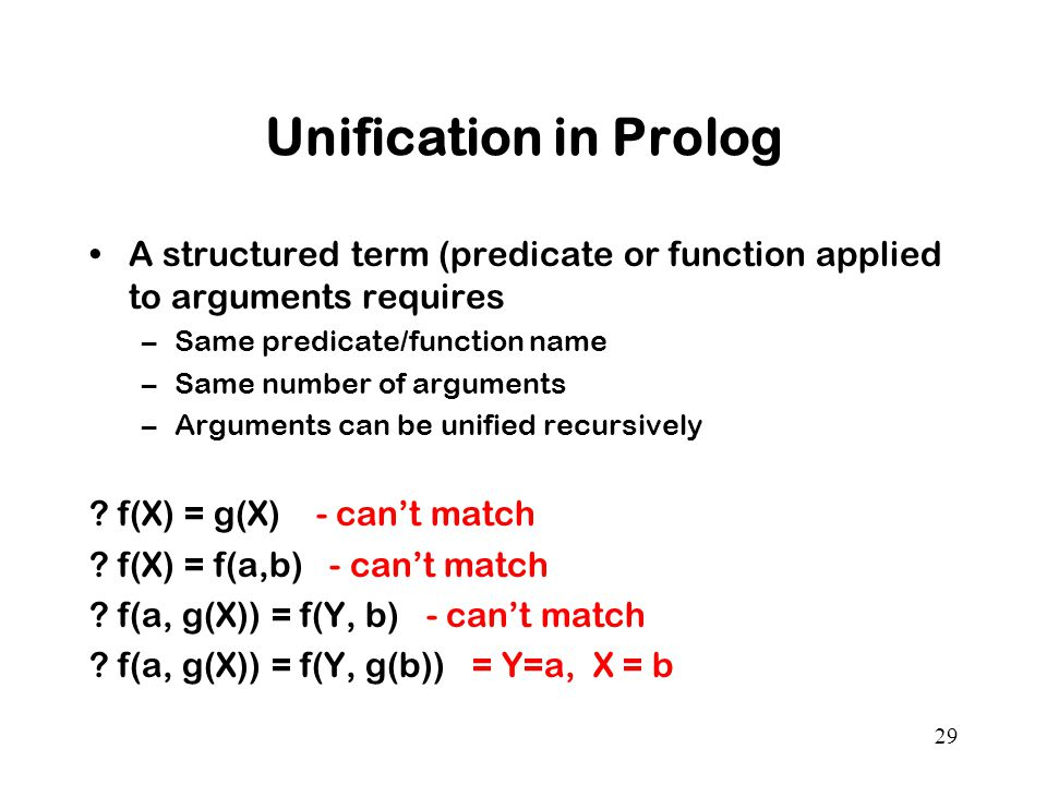 Unification in Prolog A structured term (predicate or function applied to arguments requires. Same predicate/function name.