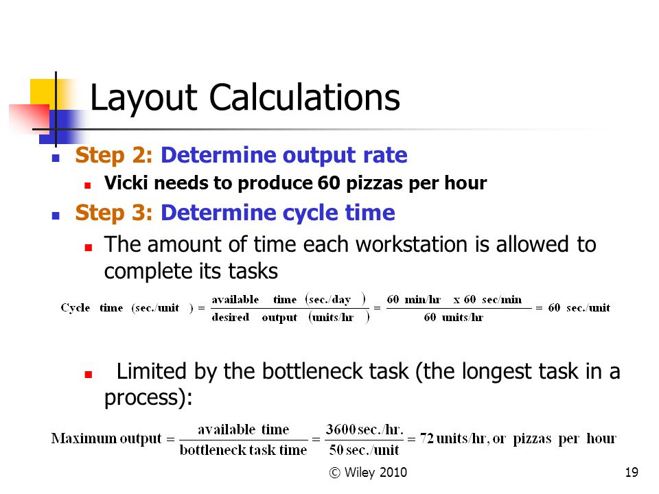 Layout Calculations Step 2: Determine output rate