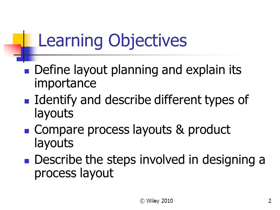 Learning Objectives Define layout planning and explain its importance