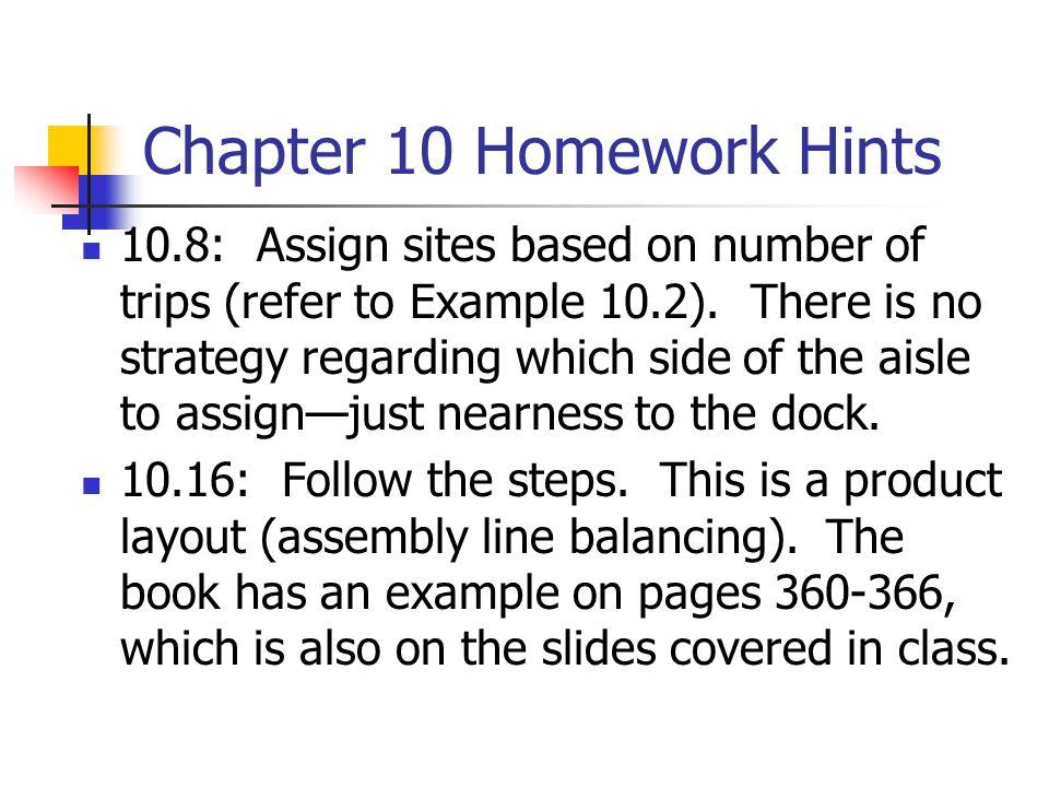 Chapter 10 Homework Hints