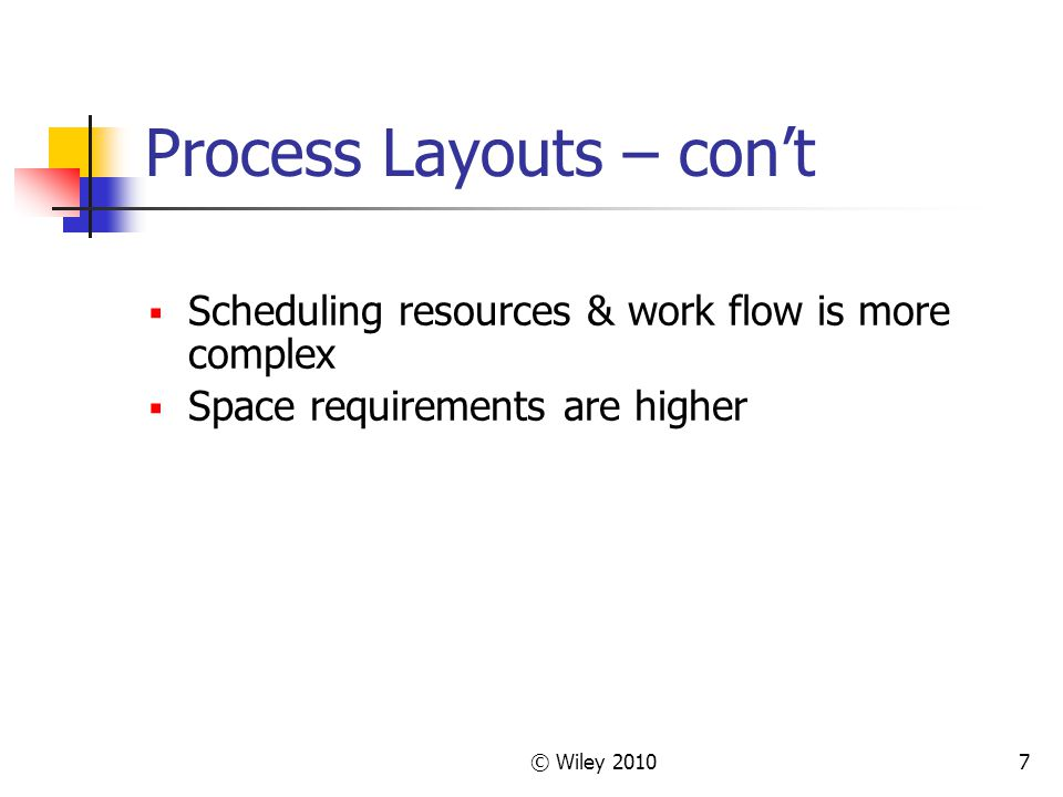 Process Layouts – con't