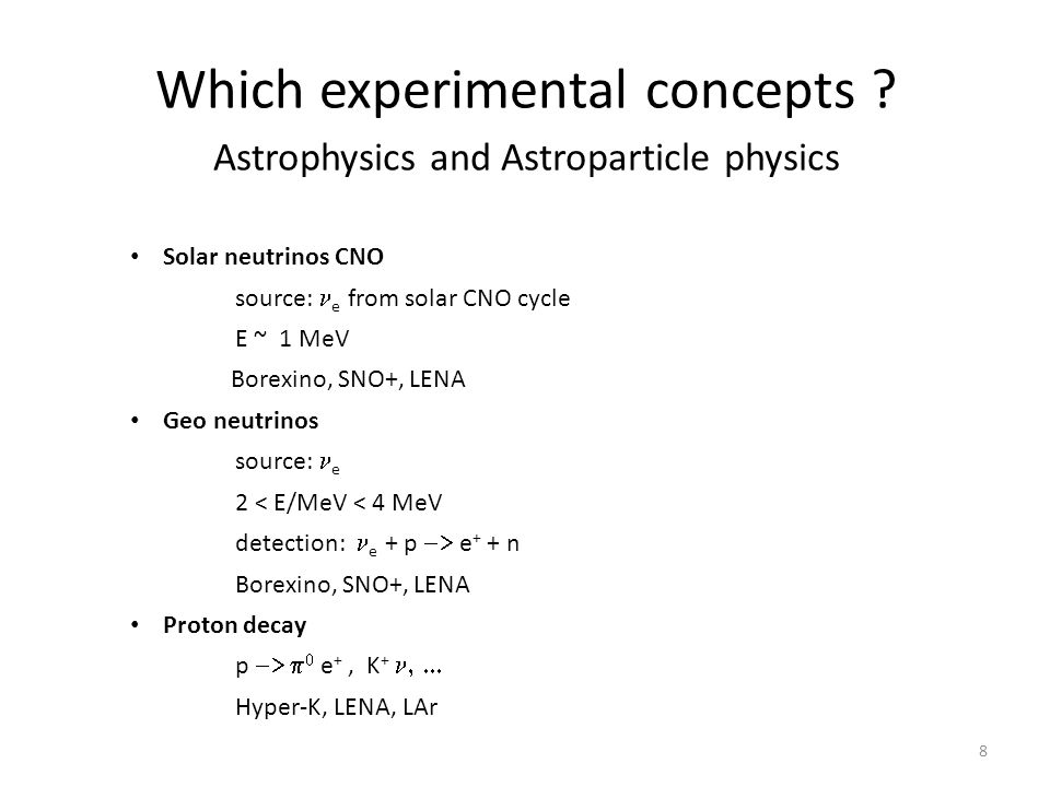Which experimental concepts Astrophysics and Astroparticle physics