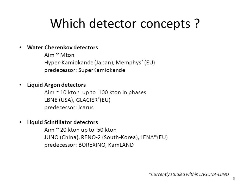 Which detector concepts