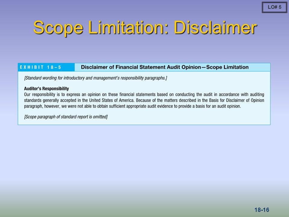 Scope Limitation: Disclaimer