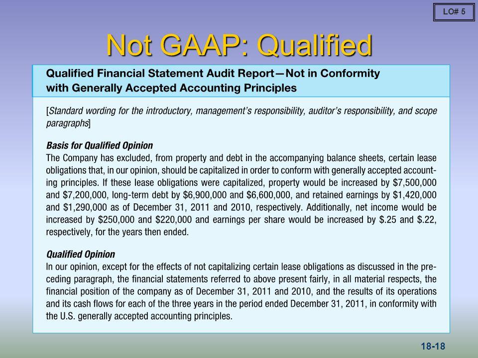 LO# 5 Not GAAP: Qualified 18-18
