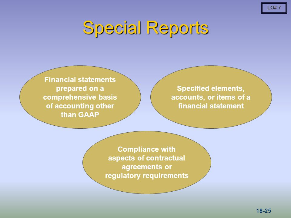Specified elements, accounts, or items of a financial statement