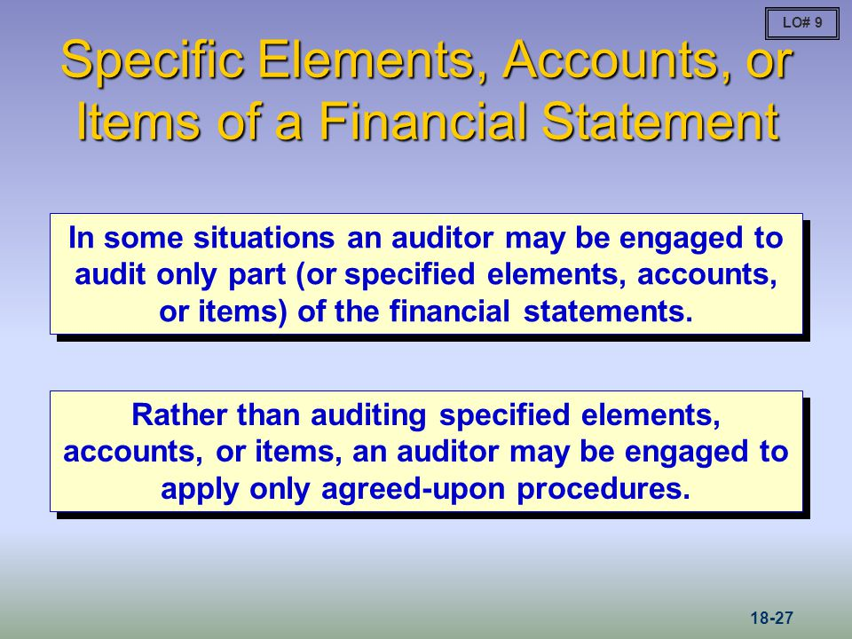 Specific Elements, Accounts, or Items of a Financial Statement