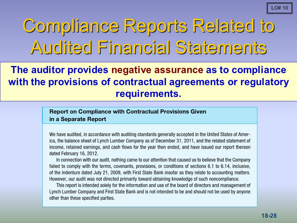 Compliance Reports Related to Audited Financial Statements