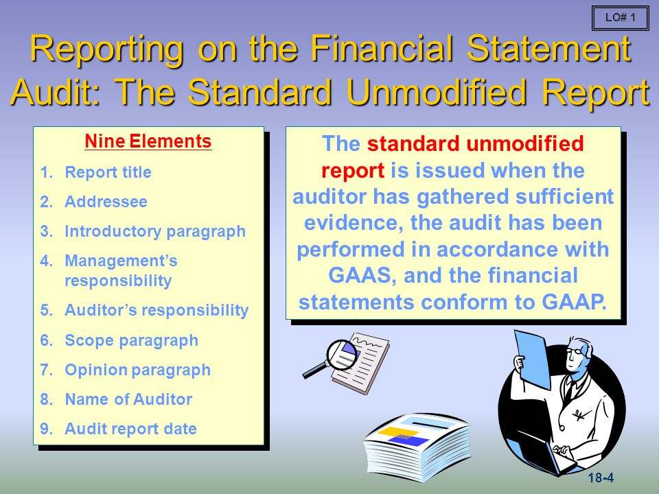 LO# 1 Reporting on the Financial Statement Audit: The Standard Unmodified Report. Nine Elements. Report title.