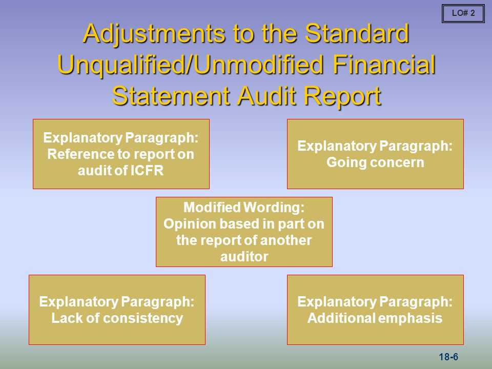 LO# 2 Adjustments to the Standard Unqualified/Unmodified Financial Statement Audit Report.