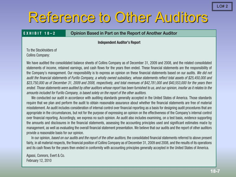 Reference to Other Auditors