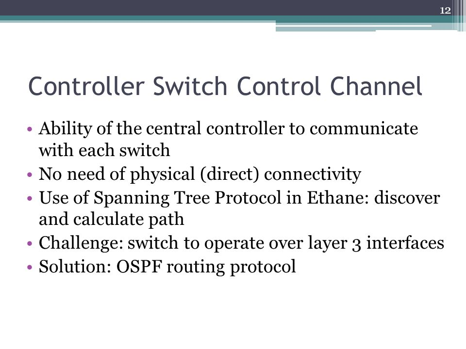 Controller Switch Control Channel