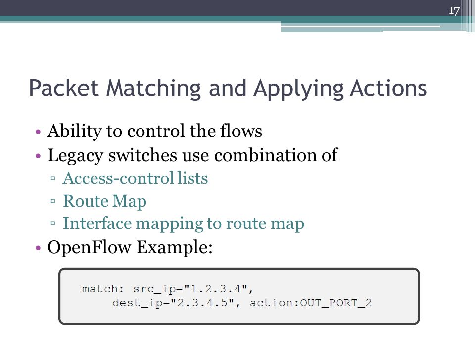 Packet Matching and Applying Actions