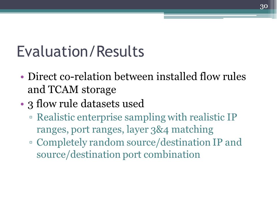 Evaluation/Results Direct co-relation between installed flow rules and TCAM storage. 3 flow rule datasets used.