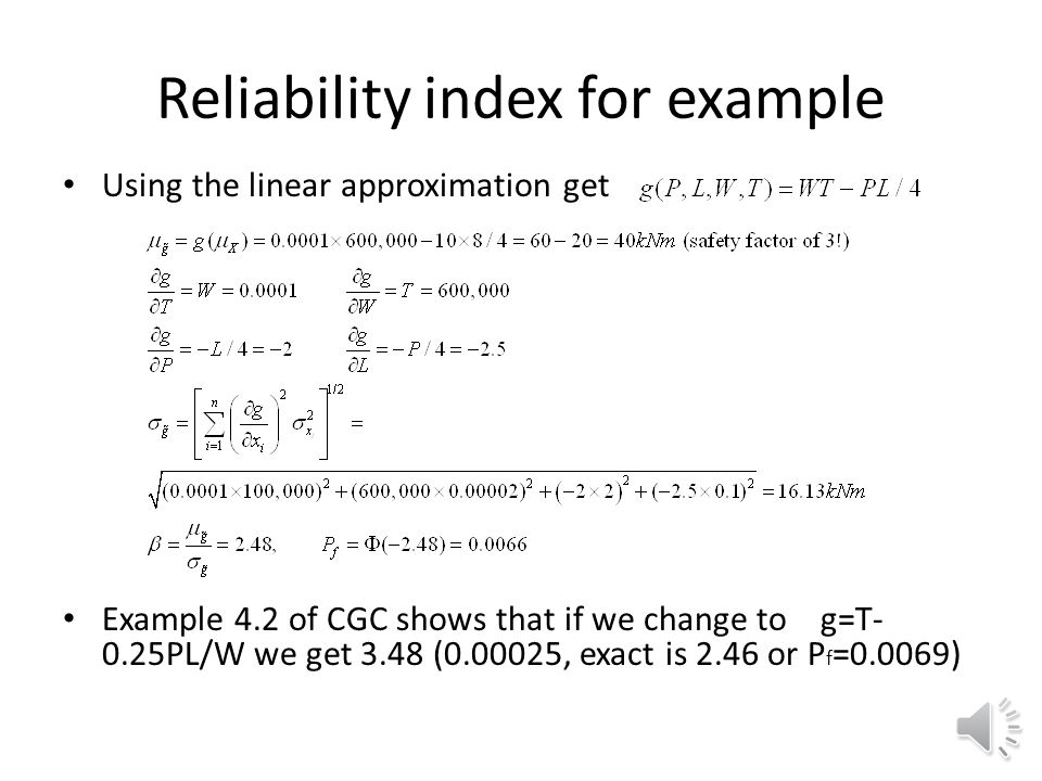 Reliability index for example
