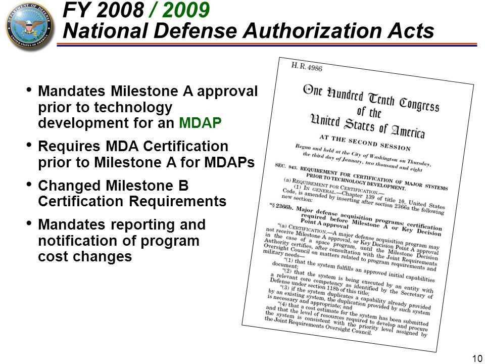 FY 2008 / 2009 National Defense Authorization Acts
