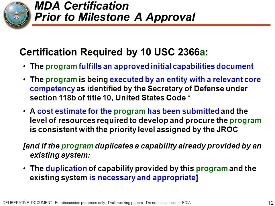 MDA Certification Prior to Milestone A Approval