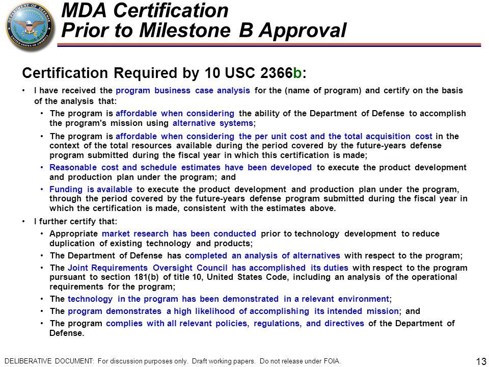 MDA Certification Prior to Milestone B Approval