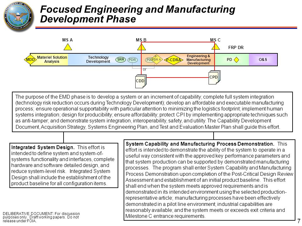 Focused Engineering and Manufacturing Development Phase