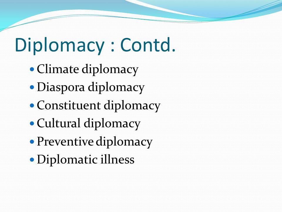 Diplomacy : Contd. Climate diplomacy Diaspora diplomacy