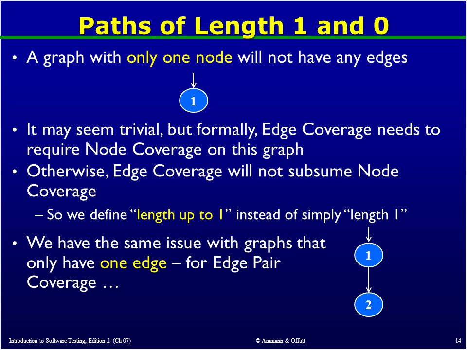 Paths of Length 1 and 0 A graph with only one node will not have any edges. 1.