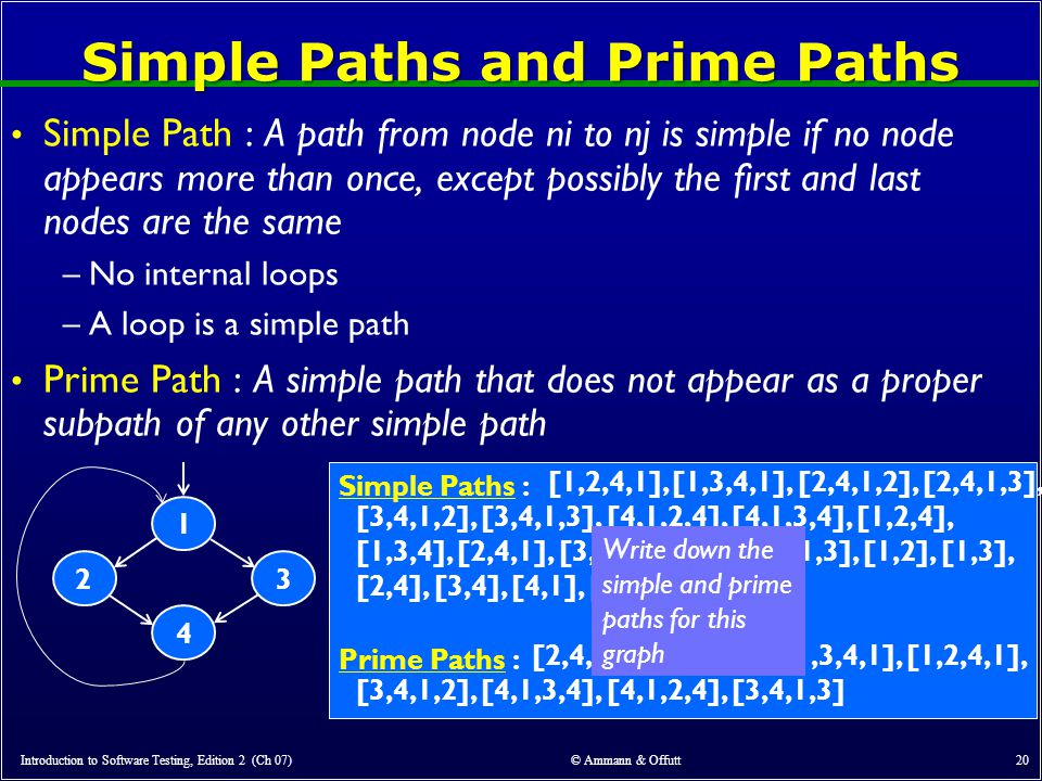 Simple Paths and Prime Paths