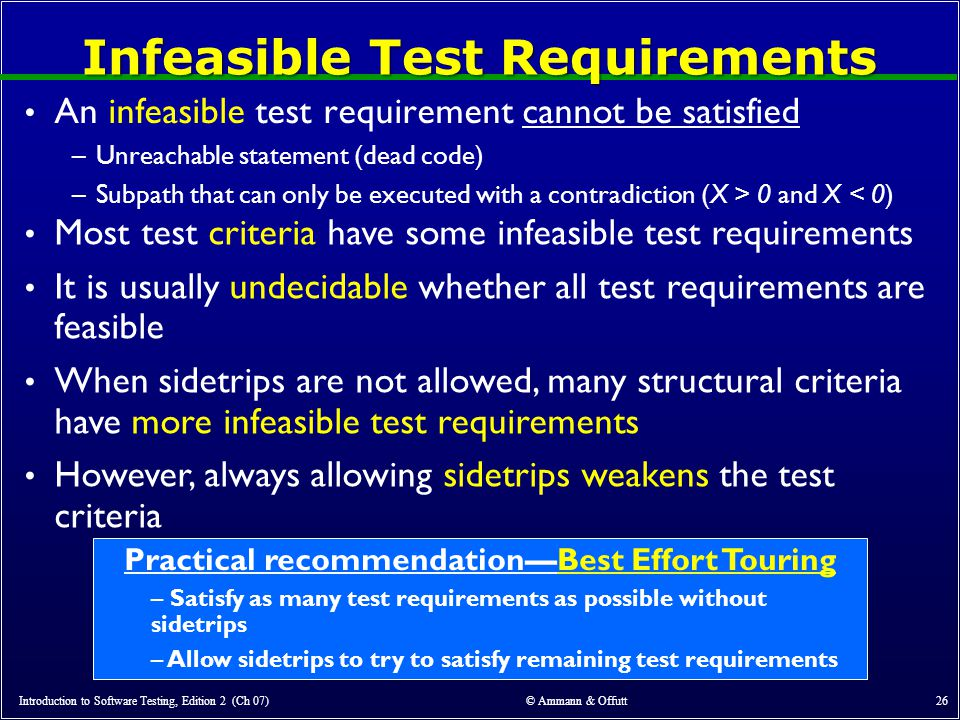 Infeasible Test Requirements