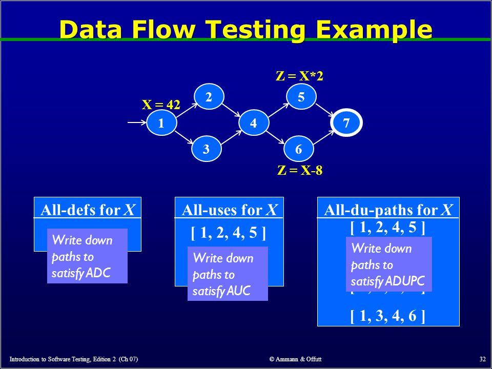 Data Flow Testing Example