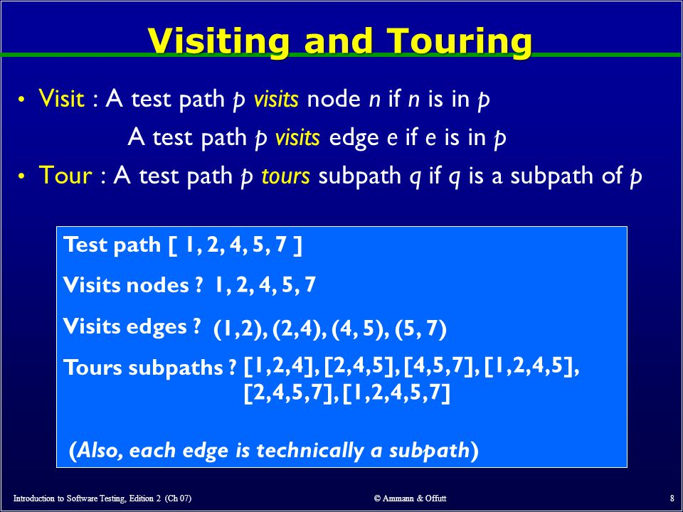 Visiting and Touring Visit : A test path p visits node n if n is in p