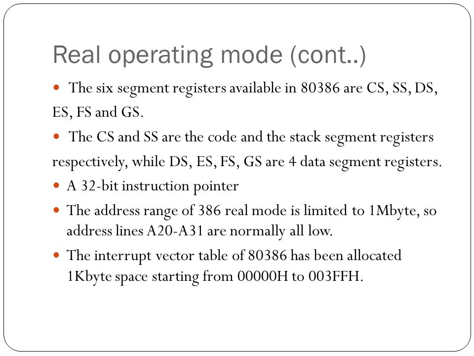 Real operating mode (cont..)