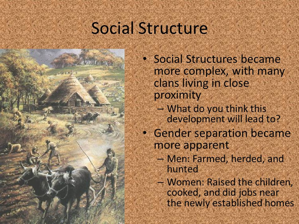 Social Structure Social Structures became more complex, with many clans living in close proximity. What do you think this development will lead to