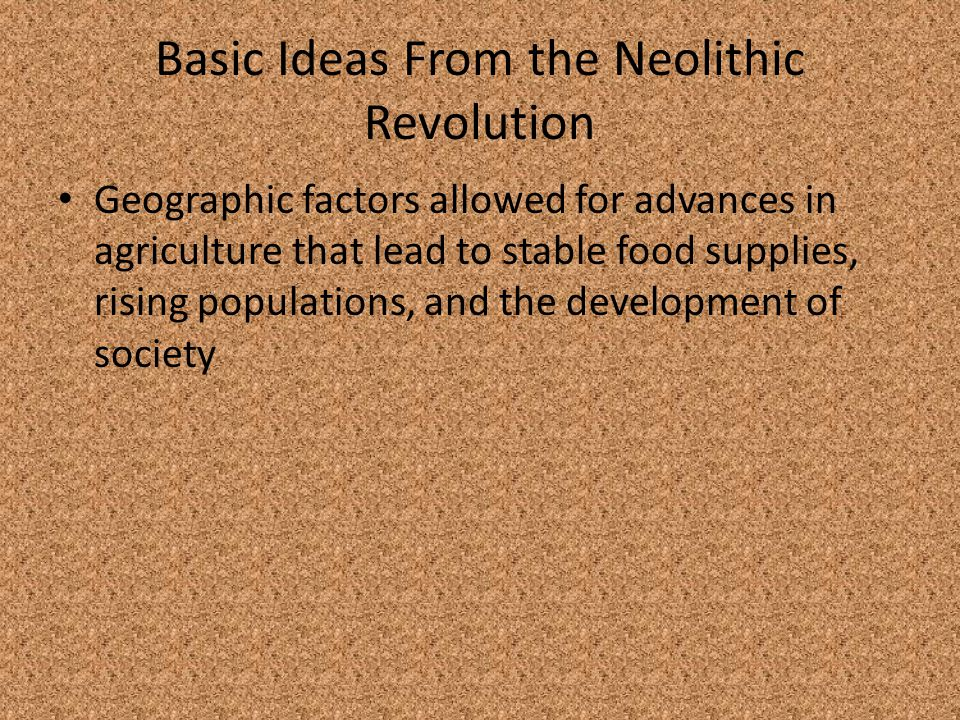 Basic Ideas From the Neolithic Revolution
