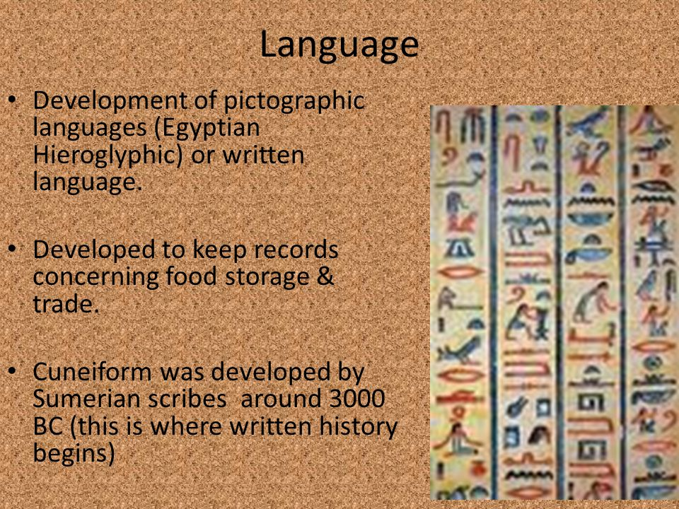 Language Development of pictographic languages (Egyptian Hieroglyphic) or written language.