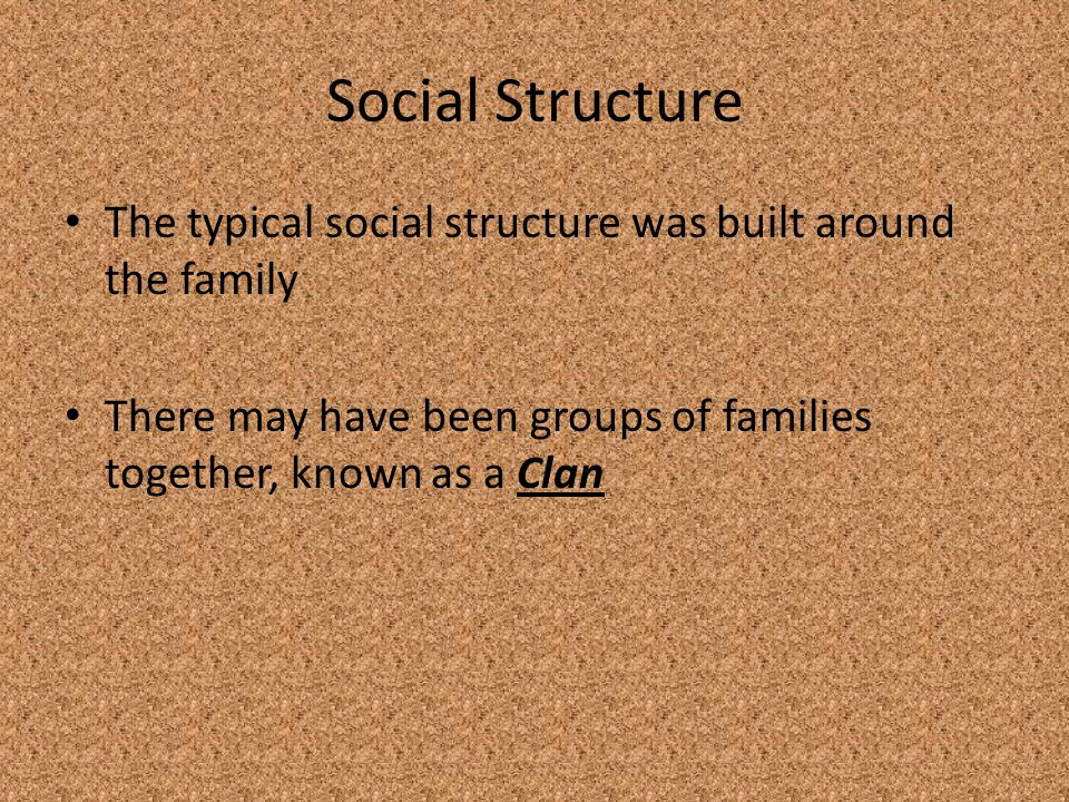 Social Structure The typical social structure was built around the family.