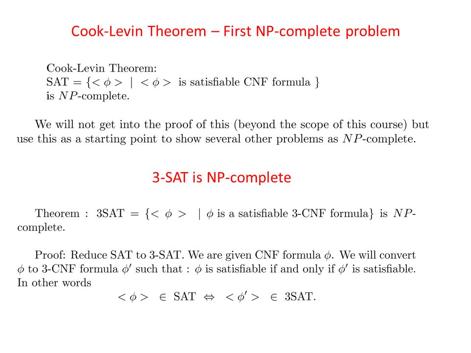 Cook-Levin Theorem – First NP-complete problem