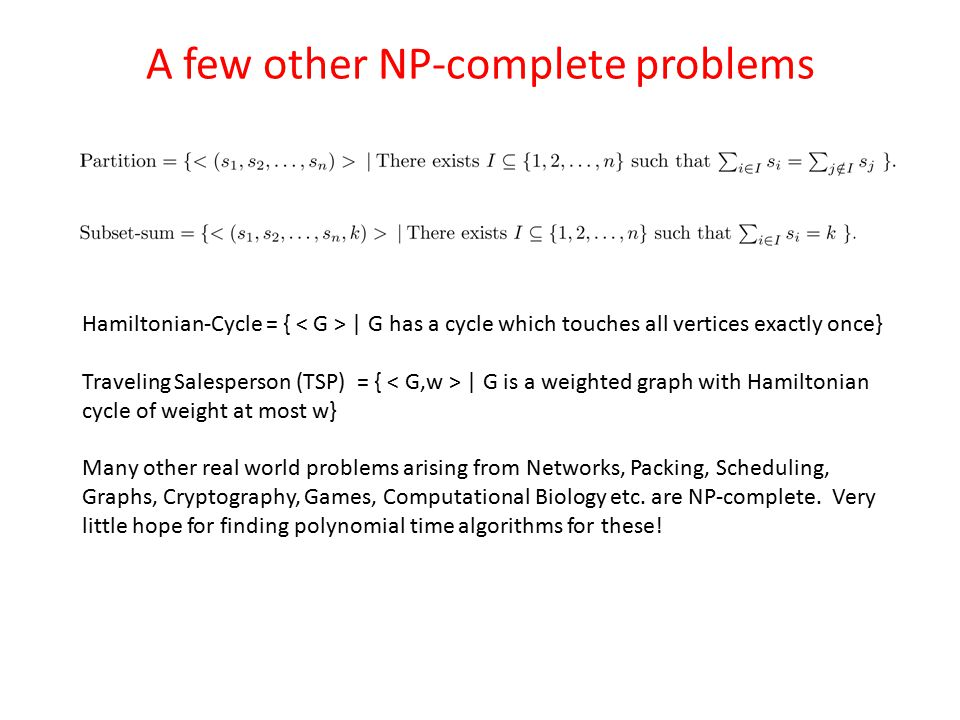 A few other NP-complete problems