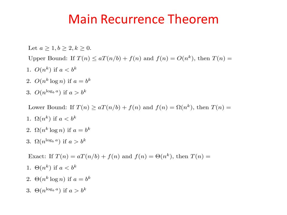 Main Recurrence Theorem