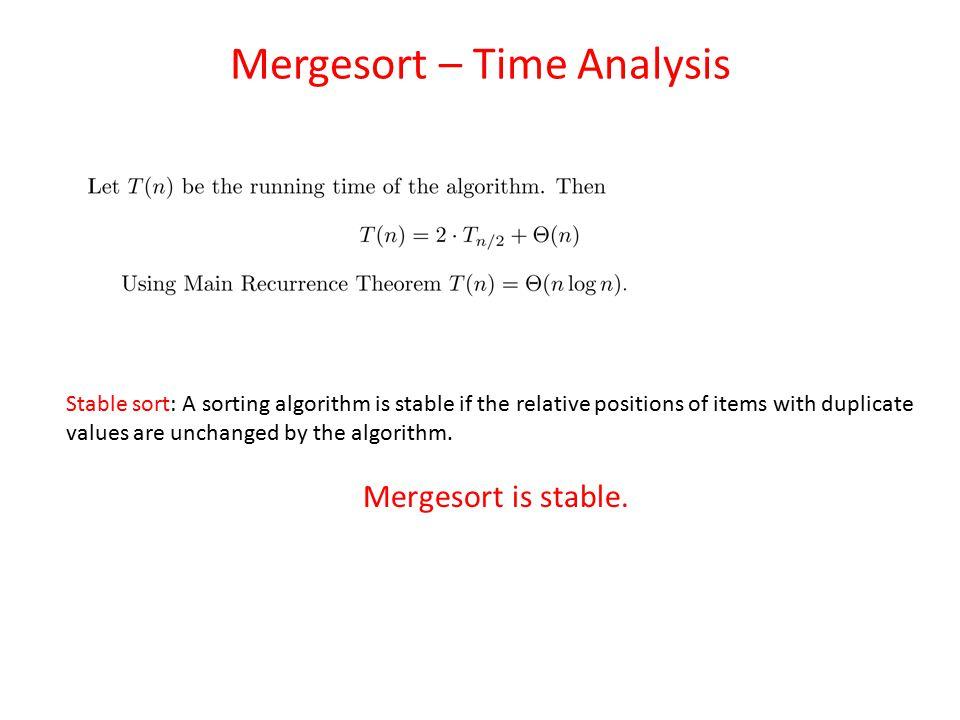 Mergesort – Time Analysis
