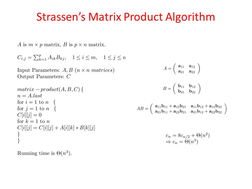 Strassen's Matrix Product Algorithm