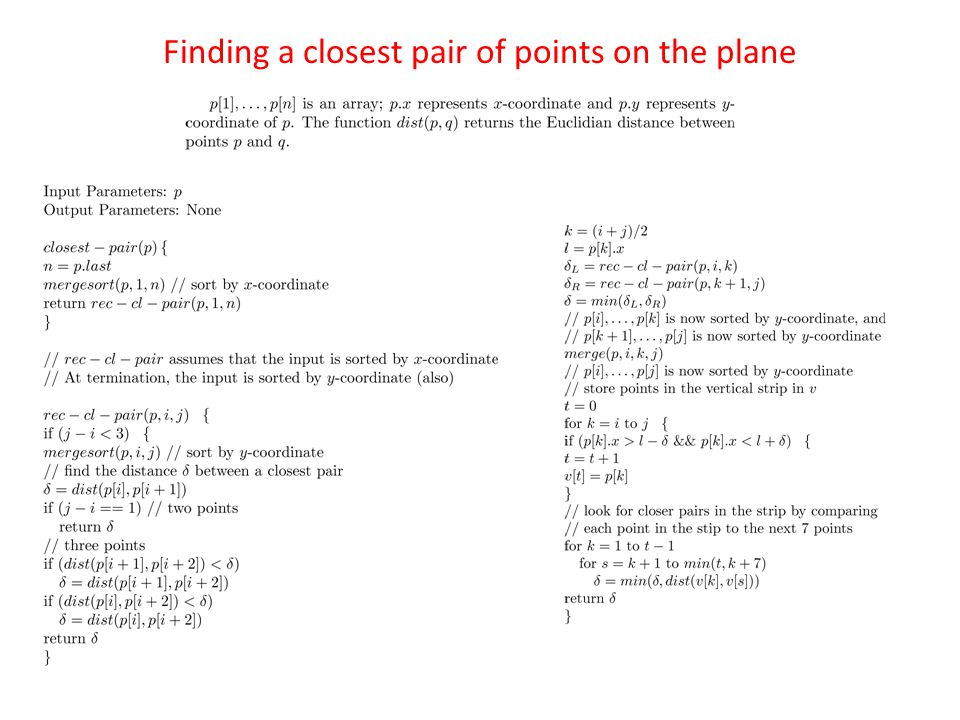 Finding a closest pair of points on the plane
