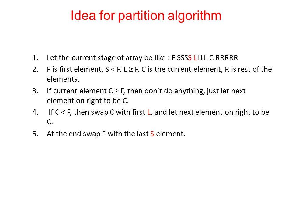 Idea for partition algorithm